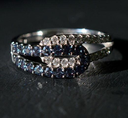 【限定 1点もの】K18WG アレキサンドライト ダイヤモンド リング/ 送料無料 鑑別書付 プラチナ ダイヤ ダイアモンド カラーチェンジ 天然 アレクサンドライト 宝石 変色性 指輪 誕生石 6月 レディース ジュエリー ギフト プレゼント alexandrite diamond daiya ring