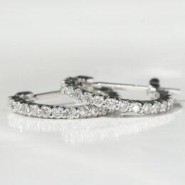 ダイヤエタニティフープピアスK18WG/YG/PGスナップピアス18k18金ダイヤモンドダイアモンドシンプルピアスレディースファッションジュエリーアクセサリーギフトプレゼントフープお祝い記念送料無料品質保証書付