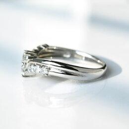 K18Pt950[0.5ct]ダイヤモンドスイート10リング/送料無料品質保証書付プラチナ0.5カラットダイヤダイアモンドv字vラインリング指輪レディースジュエリーギフトプレゼント結婚10周年夫妻結婚記念10石xmas