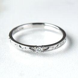 【あす楽】K18一粒ダイヤモンドアンティークリングハードプラチナK18ダイヤダイアモンド一粒ダイヤ一粒ダイヤモンドリング華奢クラシカルミル打ち重ねづけギフトプレゼント送料無料品質保証書付
