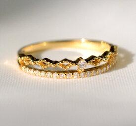 K18 ダイヤモンド 2連 リング 品質保証書付 18k 18金 二連 ミル打ち アンティーク 一粒ダイヤ エタニティリング 重ねづけ 指輪 エタニティー レディース ジュエリー