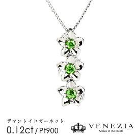 【10%OFFクーポン】【〜9/25】デマントイドガーネット ネックレス Pt900 プラチナ 0.12ct稀少石 レアストーン ダイヤモンド ペンダント ギフト プレゼント 天然石 宝石 限定1点もの