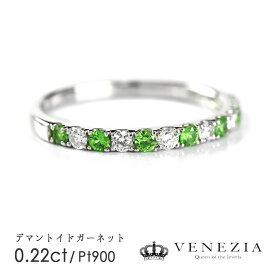 デマントイドガーネット リング 指輪 Pt900 プラチナ 0.22ct 希少石 コレクターストーン ダイヤモンド ハーフエタニティリング 天然石 宝石 限定1点もの