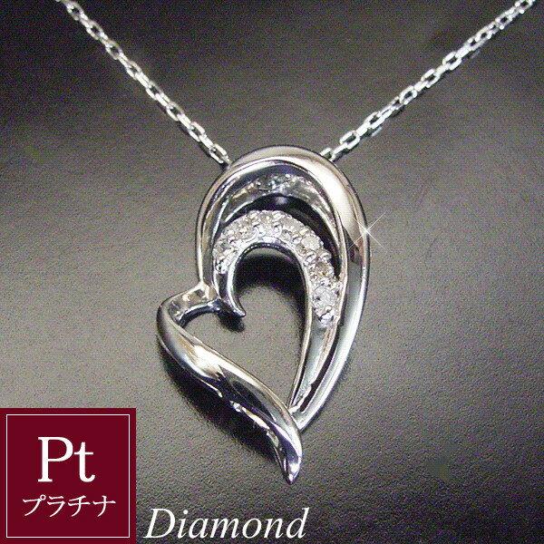 プラチナ オープン Wハート ダイヤモンド ネックレス 品番MA-0215 3営業日前後の発送予定