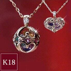天然 ダイヤモンド ネックレス【K18PG】7つの宝石がギュッと詰まったアミュレット 品番SI-AM001 3営業日前後の発送予定