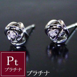 ダイヤモンド ピアス プラチナ 薔薇 品番MA-0131 3営業日前後の発送予定