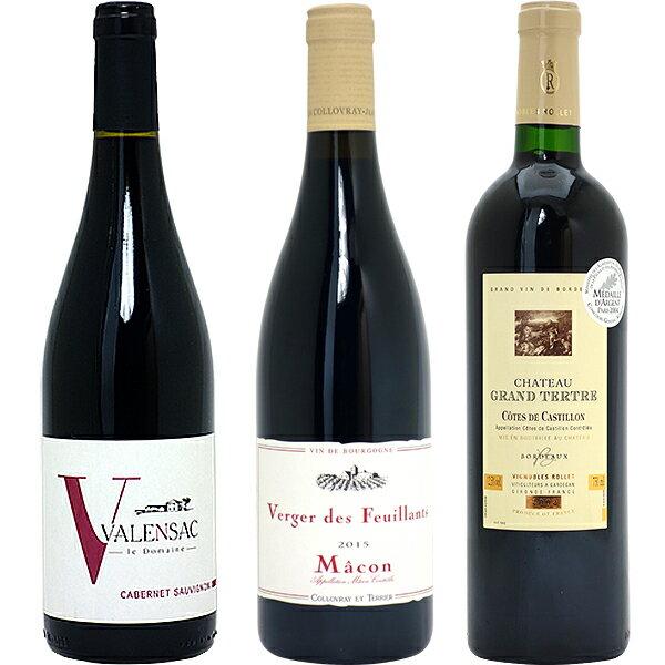 ワインセット 送料無料フランス名産地の有名ワイン 厳選赤3本セット(第91弾)wine gift パーティ 料理に合う 安くて美味しい^W0F391SE^