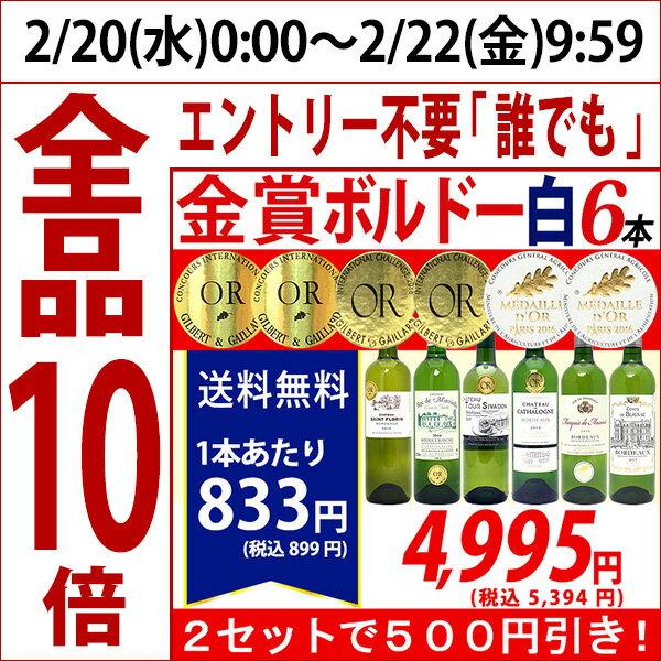 ▽2セット500円引 送料無料ワイン 白ワインセットすべて金賞ボルドー辛口白激旨6本セット^W0WK53SE^