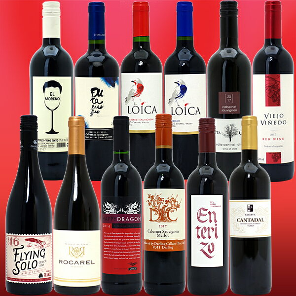 ワインセット 送料無料優秀 赤ワインが詰まったボリューム満点!美味しいもの名産地より直輸入赤12本セット(第216弾) ワイン ギフト WINE GIFT パーティ 料理に合う 安くて美味しい^W0GE50SE^