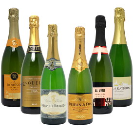 【送料無料】すべて本格シャンパン製法の辛口 厳選極上の泡6本セット クレマン、ゼクト入り ワインセット スパークリング ^W0GAC0SE^