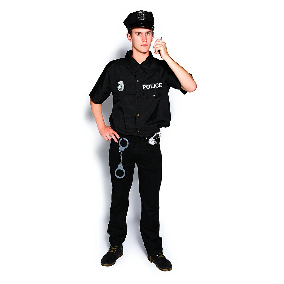 Veroman メンズ ポリス 警官 コスプレ ハロウィン 衣装 仮装 4点セット