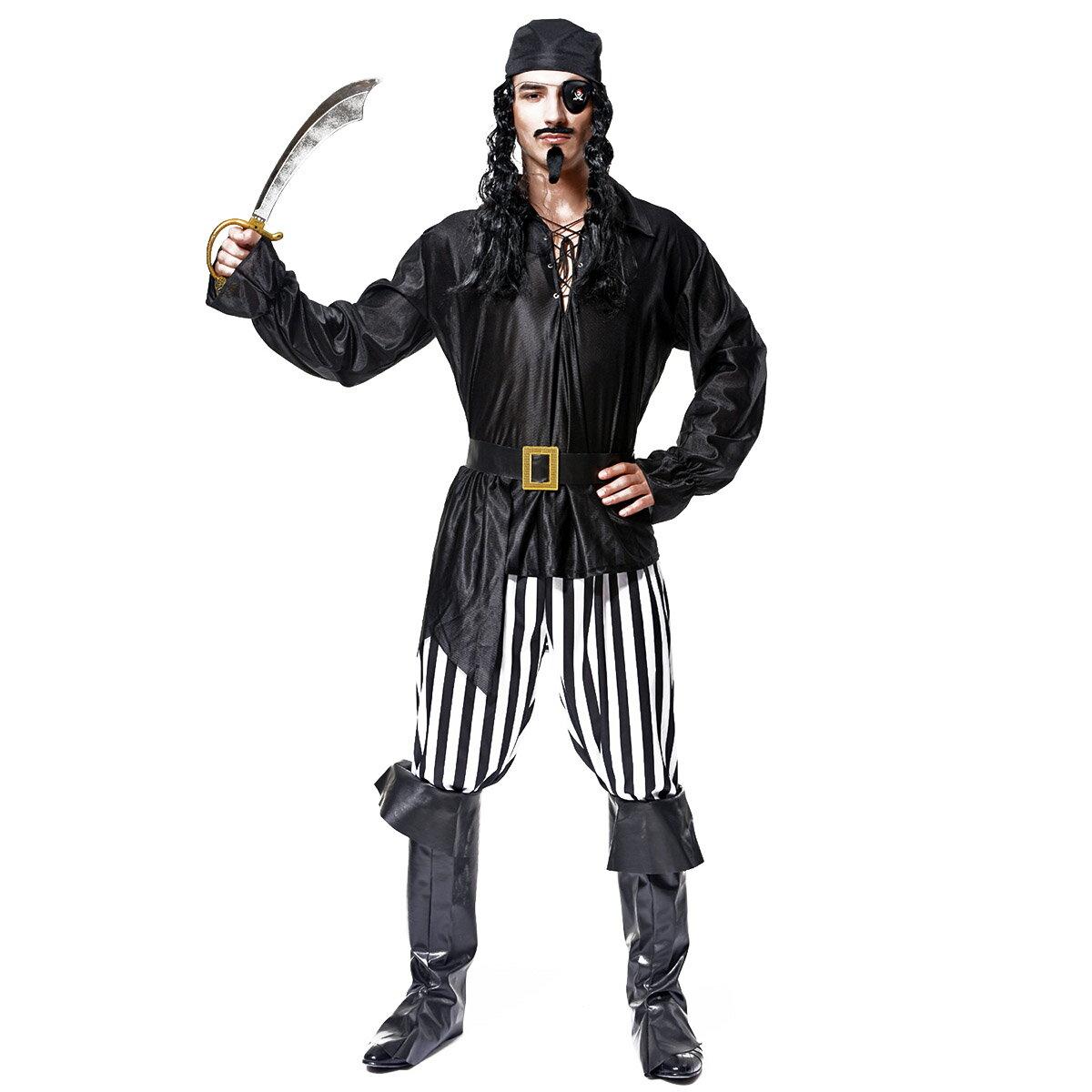 Veroman メンズ 海賊 パイレーツ コスプレ ハロウィン 衣装 仮装 (バンダナ、海賊服、ズボン、ブーツカバー、ベルト、眼帯の6点セット)