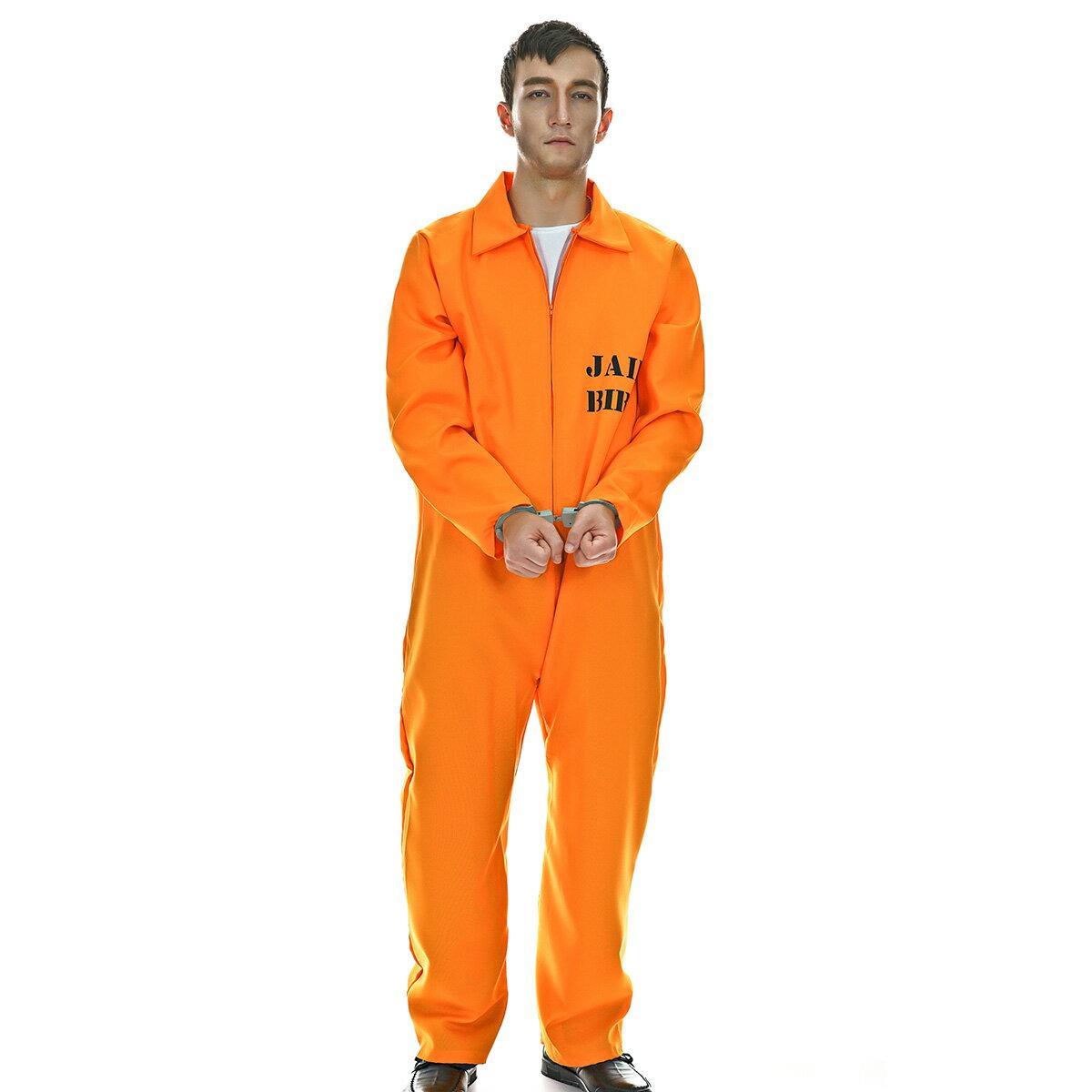 VeroMan メンズ 囚人服 オレンジ プリズナー コスプレ ハロウィン 衣装 仮装