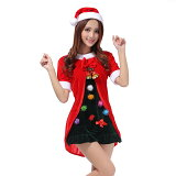 Veromanサイズアップクリスマスツリーコスプレ衣装レディース3点セット(帽子+ドレス+鈴付きポンチョ)