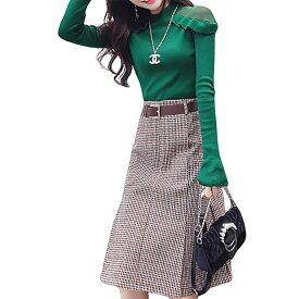 VeroMan おしゃれ セーター スカートの上下セット 韓国ファッション グリーン