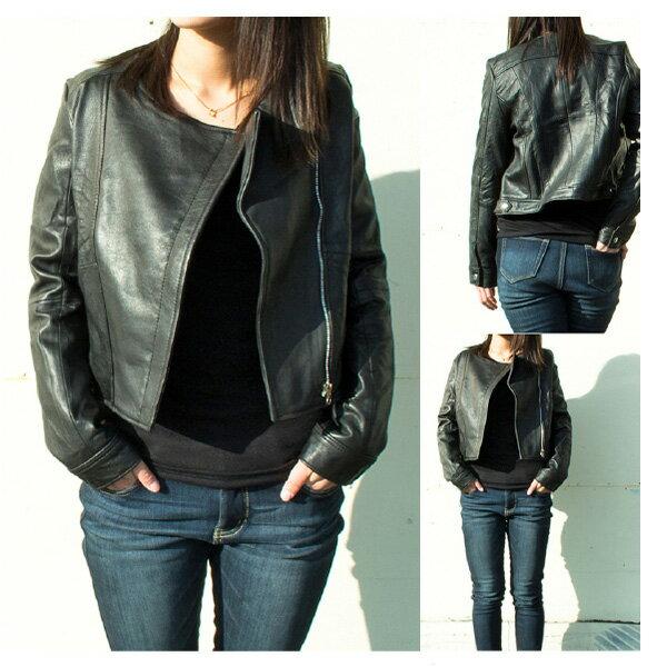Veroman レディース 本革 牛革 レザージャケット ノーカラー / Veroman Women's Leather Jacket No Collar