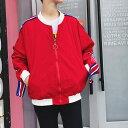 VeroMan アウター ブルゾン ジャンパー メンズ ビッグシルエット ライン ストリート 韓国ファッション レッド