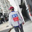 VeroMan アウター ブルゾン ジャンパー メンズ ビッグシルエット ライン ストリート 韓国ファッション ホワイト