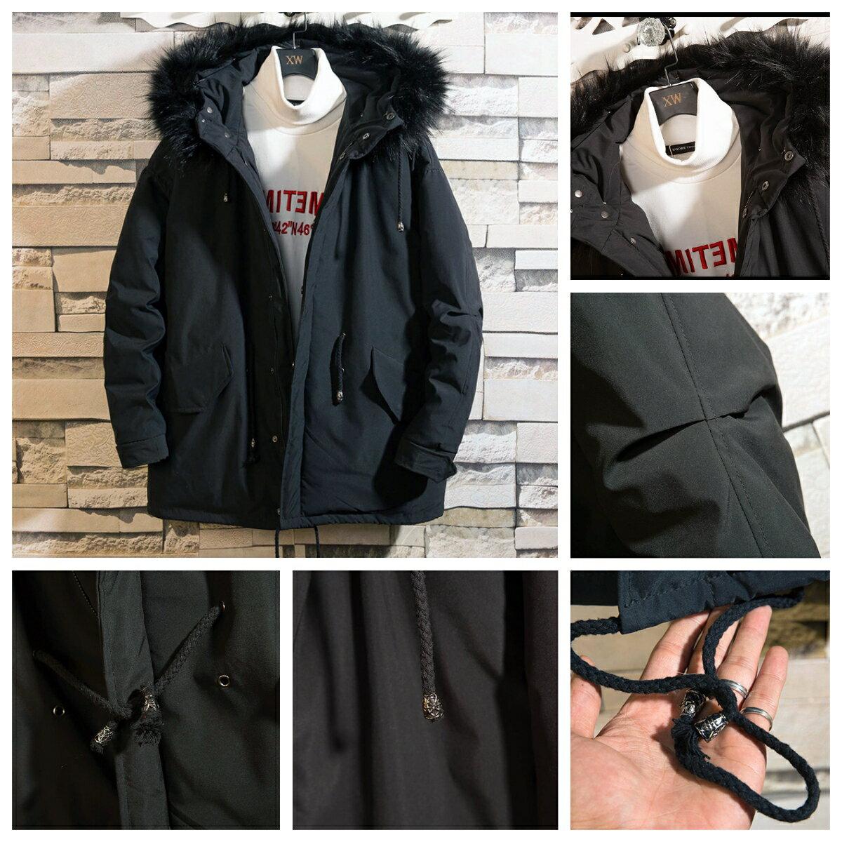VeroMan メンズ ファー付きモッズミリタリーコート アウター ダウンジャケット 防寒 防風 厚手 アウトドア