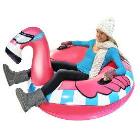 VeroMan スノーチューブ フラミンゴ 雪遊び ソリ 浮き輪