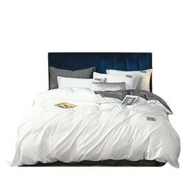 VeroMan シルク フラットシーツ 布団カバー まくらカバー 寝具カバーセット 光沢 優しい肌触り ベッドシーツ 白×灰 ダブル