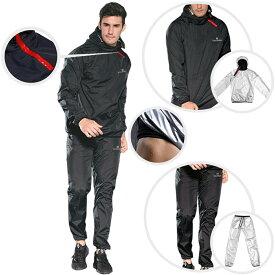VeroMan メンズ サウナスーツ サウナパンツ トレーニングウェア 超発汗 ダイエット 上下セット ブラック