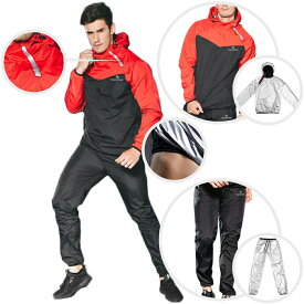 VeroMan メンズ サウナスーツ サウナパンツ トレーニングウェア 超発汗 ダイエット 上下セット レッド