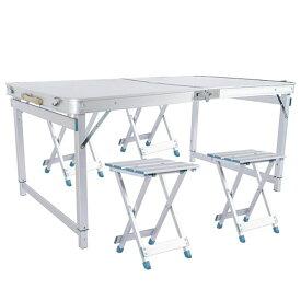 VeroMan 折りたたみ 収納式 アウトドア テーブル 分離式チェア×4 セット パラソル穴付き キャンプ 高さ調整可能 アルミチェア
