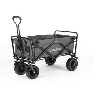 VeroMan アウトドアワゴン キャリーカート キャリーワゴン 耐荷重 80kg 折りたたみ 大型タイヤ 大容量 90L