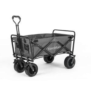[90L] VeroMan アウトドアワゴン キャリーカート キャリーワゴン 耐荷重 80kg 折りたたみ 大型タイヤ 大容量