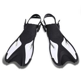 VeroMan コンパクト フィン シュノーケリング ダイビング 足ひれ 調節可能 軽量 ユニセックス 着脱簡単 ブラック×ホワイト