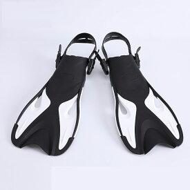 VeroMan シュノーケリング フィン 足ひれ ダイビング 調節可能 軽量 ユニスックス 着脱簡単 ブラック×ホワイト