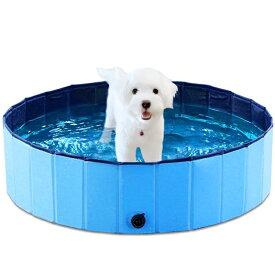 [直径120cm] VeroMan ペットプール ペット用バスグッズ 折り畳み 持ち運び便利 水抜き栓付き 夏 猫 犬 子供 水遊び 高さ30cm