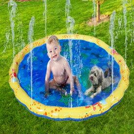VeroMan 幼児用 プール 直径100cm 噴水 ホースに繋ぐだけ 水遊び プレイマット 庭 シャワー 子供用