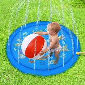 [直径170cm] VeroMan 子供用 プール 噴水 ホースに繋ぐだけ 水遊び 噴水マット プレイマット 庭 シャワー 幼児 (ブルー)