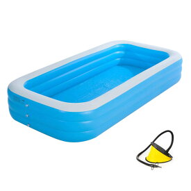 [260cm] VeroMan 家庭用 大型プール インフレータブル ビニールプール 水遊び 室内 室外 庭 屋上 暑さ対策 (XL)