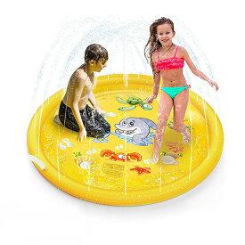 VeroMan 子供用 プール 直径170cm 噴水 ホースに繋ぐだけ 水遊び プレイマット 庭 シャワー 幼児