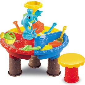 VeroMan 砂遊び 水遊び 子供 おもちゃ サンドテーブル 椅子付き 型抜きセット 室内 アウトドア 海水浴 ビーチ 丸型