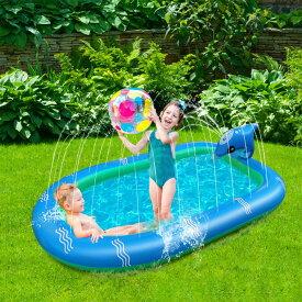 [110cm] VeroMan 子供用 プール イルカの噴水プール ホースに繋ぐだけ 水遊び 親子水遊び (S)