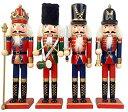 VeroMan 木製 くるみ割り人形 4個入りー 兵士人形 手塗り 置物 クリスマス プレゼント(30CM)