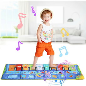 VeroMan 子供 音楽カーペット ミュージックマット ピアノ 触って音出す 知育おもちゃ 10鍵盤 滑り止め 録音 音量調整