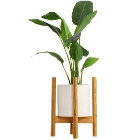 [高さ38cm] VeroMan ポットスタンド フラワースタンド 竹製 直径30cm 調整可 植木鉢 ガーデニング 室内 室外 花台