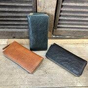 【MuddyJackSoup(マディージャックスープ)】オイルシボ牛革・切りっぱなしナチュラルレザーラウンドファスナー長財布(76151)メンズ/レディース