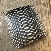 【国産・サンレミー(SunRemy)】『Ez'sPYTHON/イージスパイソン』逆染め加工・日本製パイソンレザー/ヘビ革・BOX型小銭入れ仕様二つ折り財布(61926)メンズ