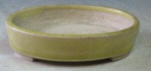 平安竹山 薄黄釉小判盆栽鉢
