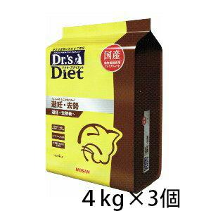 ドクターズダイエット 避妊・去勢 ドライ 猫用 4kg ×3個 国産 幼猫 子猫 成猫 プレミアムフード キャットフード 総合栄養食 ペット