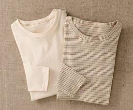 オーガニックコットン -HAYASHI-『Tシャツ』《日本製/ウェア/普段着/部屋着/Tシャツ/ナチュラル/ボーダー/生成り/敏感肌》