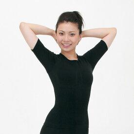 【在庫処分】テビロン シェイプアップウェア<ショートスリーブ半袖> 最高級保温繊維テビロン使用!立体編みだから体にフィット!エクササイズ・フィットネス・トレーニングウェアに。