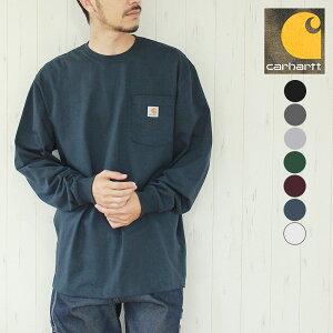 CARHARTT カーハート ロンT Tシャツ ワークウェア ポケット ロングスリーブ ロゴ Tシャツ WORK WEAR POCKET LONG SLEEVE T-SHIRT Tシャツ 長袖 ロゴ シンプル 青 黒 白 カジュアル