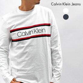 【ゆうパケット配送】 カルバンクラインジーンズ 長袖Tシャツ メンズ CALVIN KLEIN JEANS ダブルストライプ CRE CK ロンT ブランド トップス ロゴ シンプル ストリート ボーダー カジュアル ホワイト 白 ネイビー 40AC887 DOUBLE STRIPE CRE